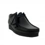 Clarks Wallabee Low (Black Leather)